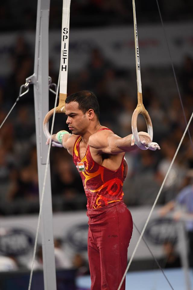 Rakesh Patra on Rings at Melbourne World Cup 2018. Picture source : World Cup Gymnastics Melbourne Facebook Page
